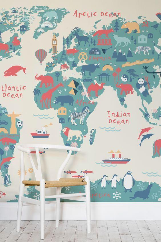 Explorer Kids World Map Mural MuralsWallpaperuk Kid decor - fresh interactive world map desktop background