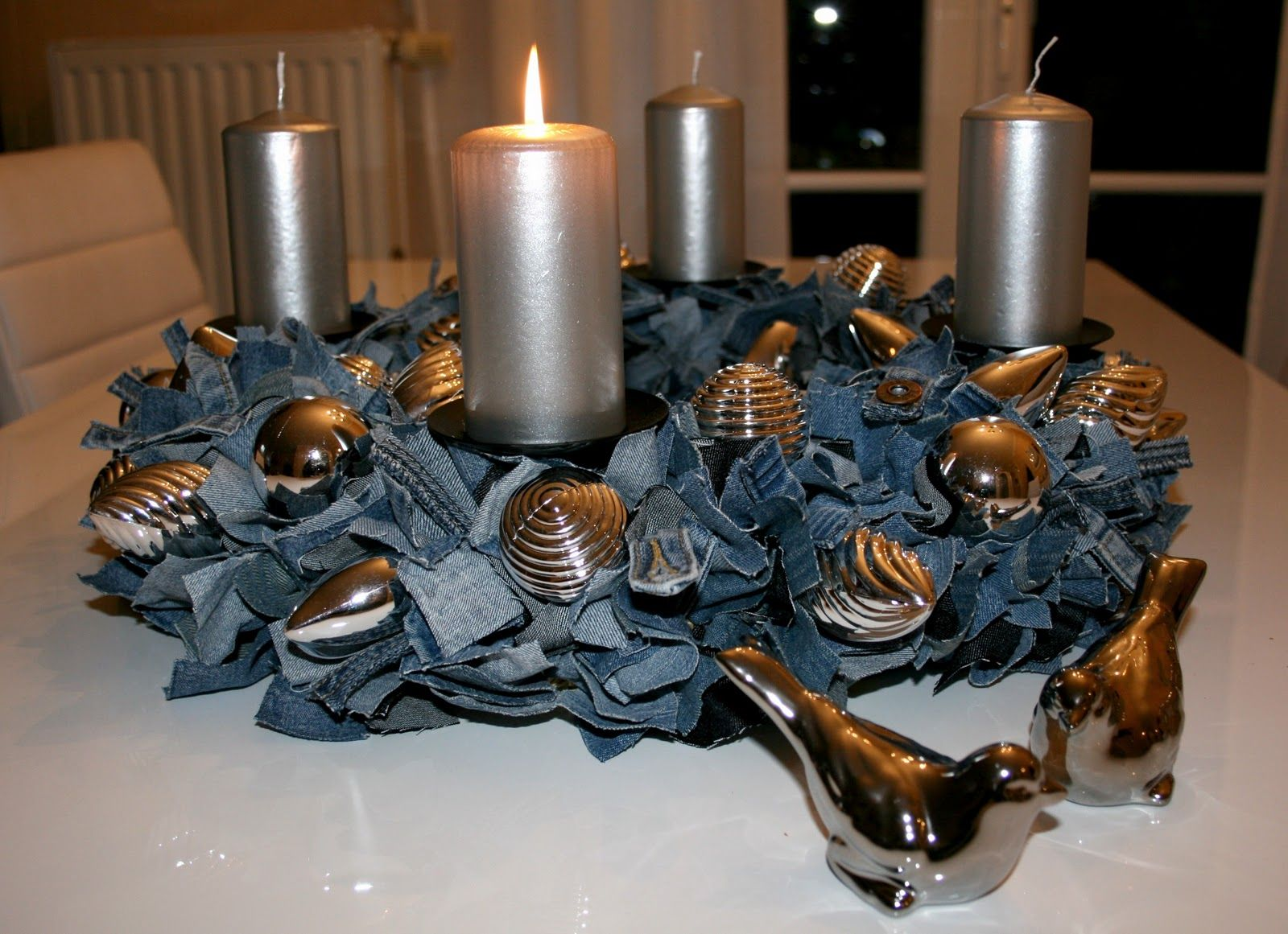 Recycled denim table centerpiece with pearls instead of for Recycled centerpiece ideas