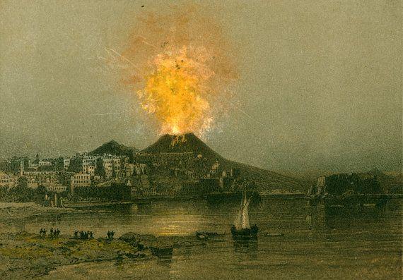 1881 Eruption Vesuve De 1872 Gravure Ancienne Etsy Gravures Anciennes Pompei Italie Vesuve
