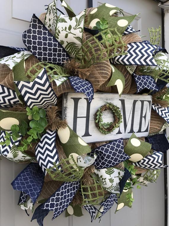 Photo of Home Rustic Burlap Deco Mesh Wreath, Welcome Wreath