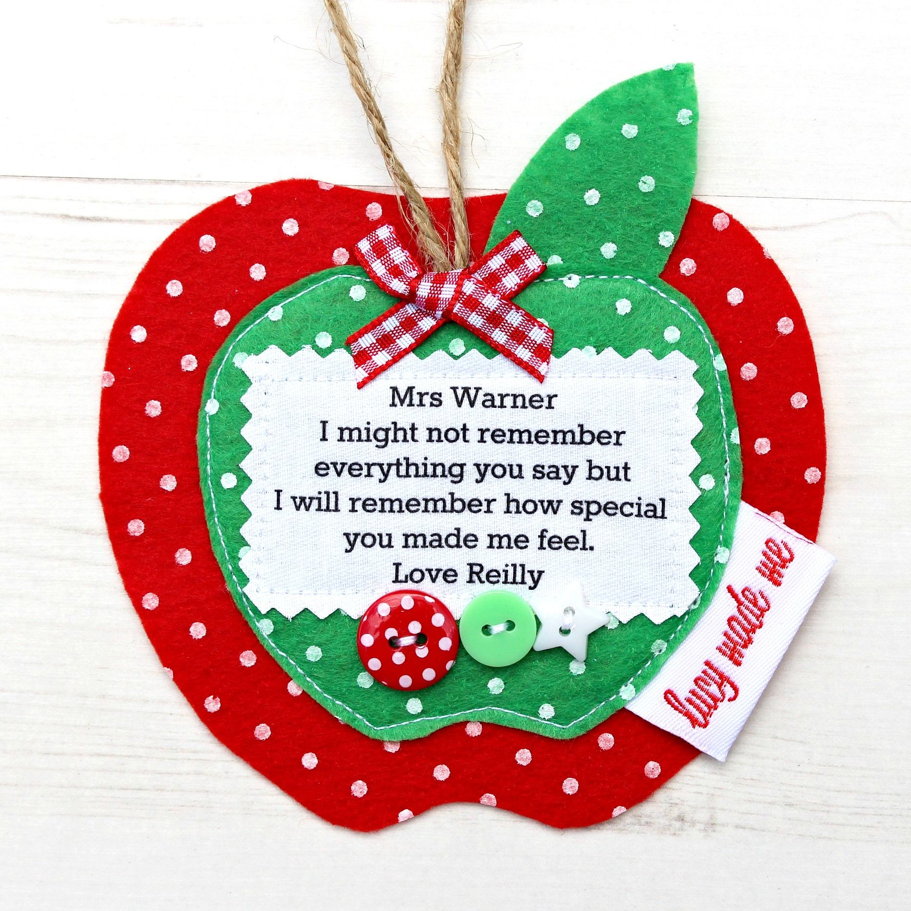 Personalised Teachers/' Christmas Apple Decoration//Gift with Embellishments red