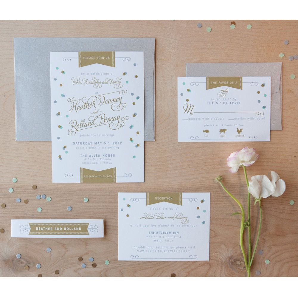 tie the knot wedding invitations etsy%0A Confetti Wedding Invitation  Vintage Modern  Modern invitation  Jubilee  invitation  Mint and Gold SAMPLE