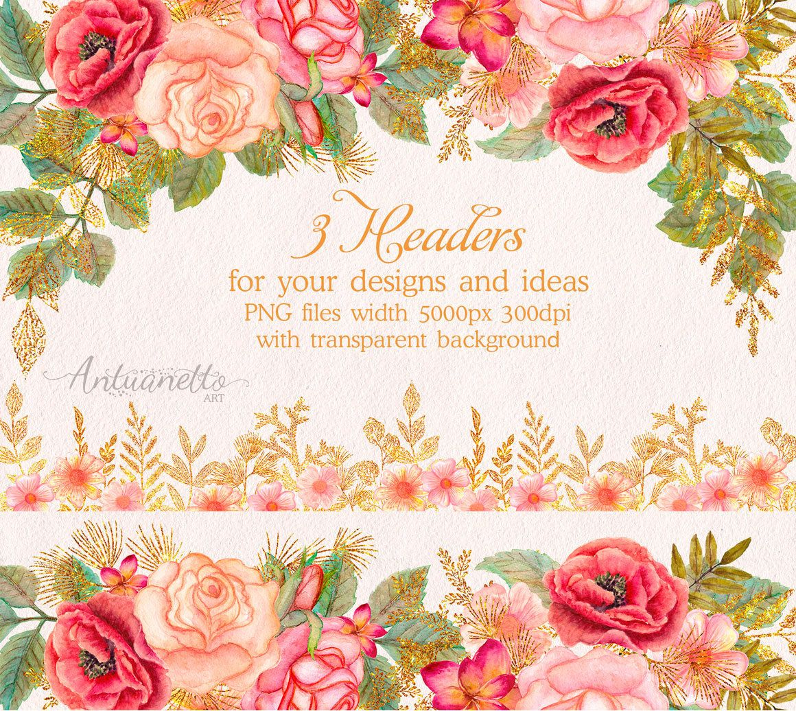 watercolor glitter floral headers  flower clipart  floral clip art  floral headers  borders