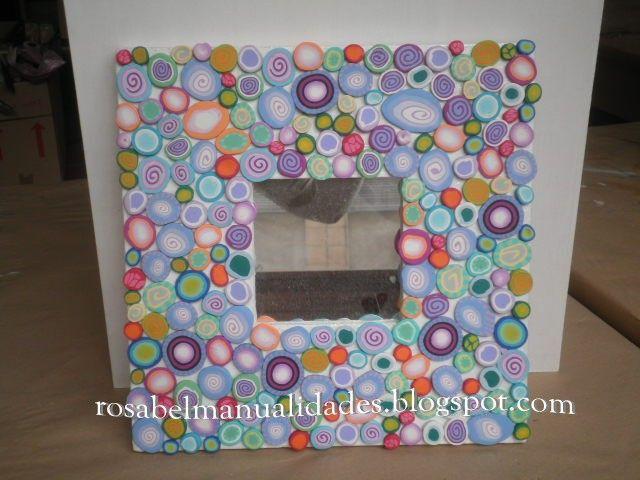 Rosabel manualidades marcos para espejos decorados con - Marcos fotos manualidades ...