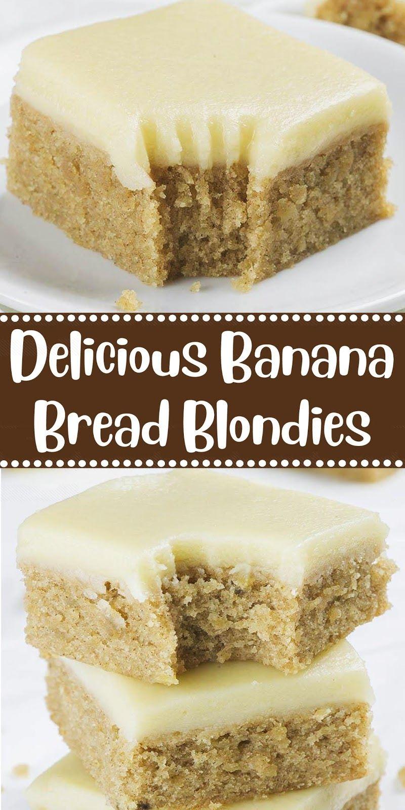 Delicious Banana Bread Blondies #bananadessertrecipes