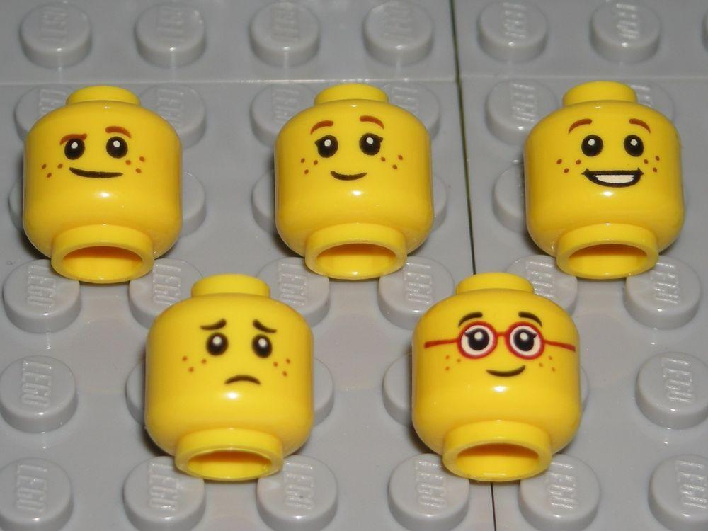 x1 NEW Lego Yellow Minifig Head Female Girl 2 Faces