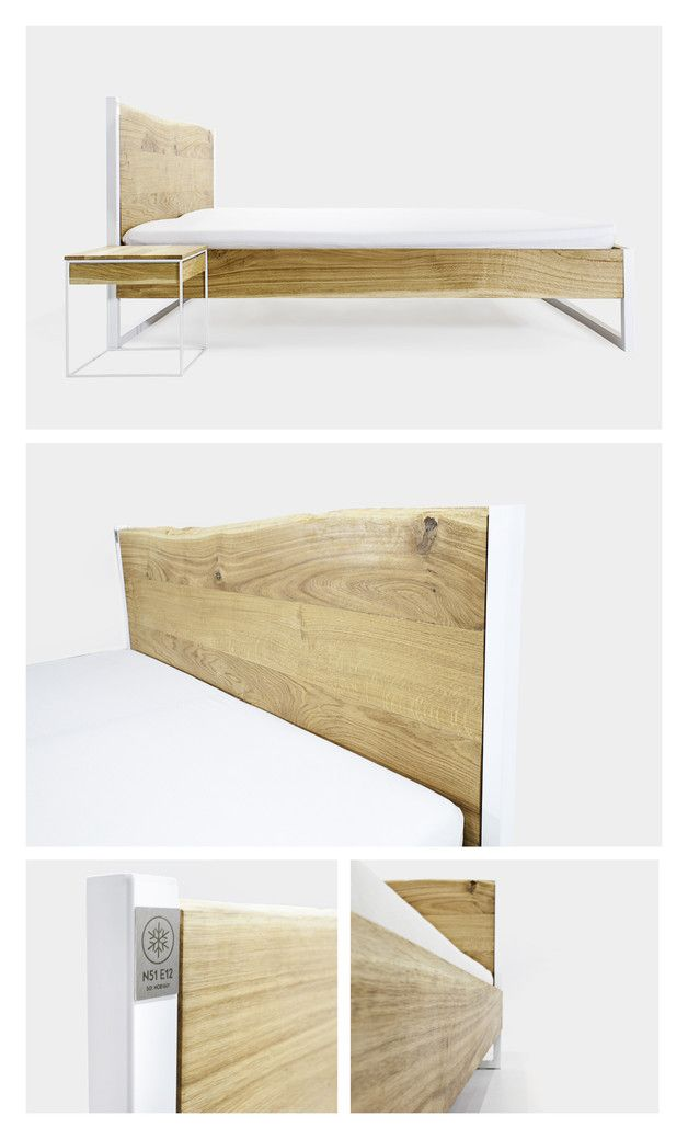 NATURE OAK BED (EICHE-STAHL) 140x200 | Oak beds, Bauhaus design ...