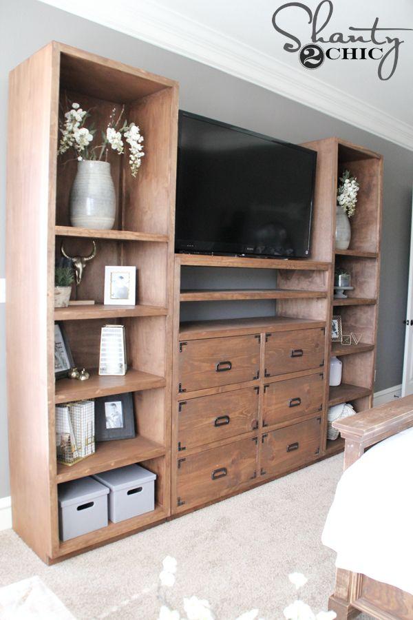DIY Shelves For My Sliding Barn Door Media Console   Shanty 2 Chic