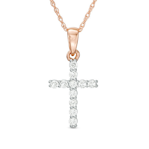 1//10 ct Blue Diamond Rose Gold Over Cross Pendant Chain Necklace With Chain