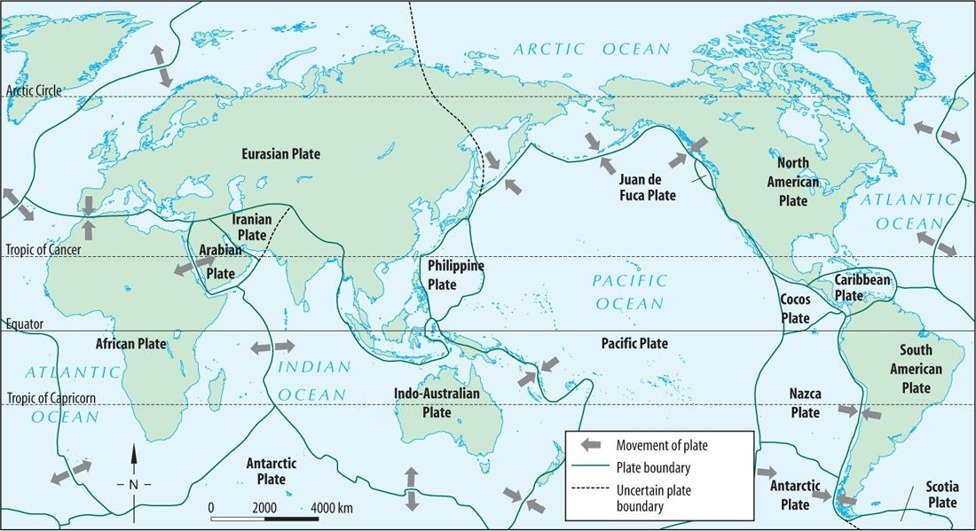Plate Tectonic Map tectonic plates plate boundaries the ...