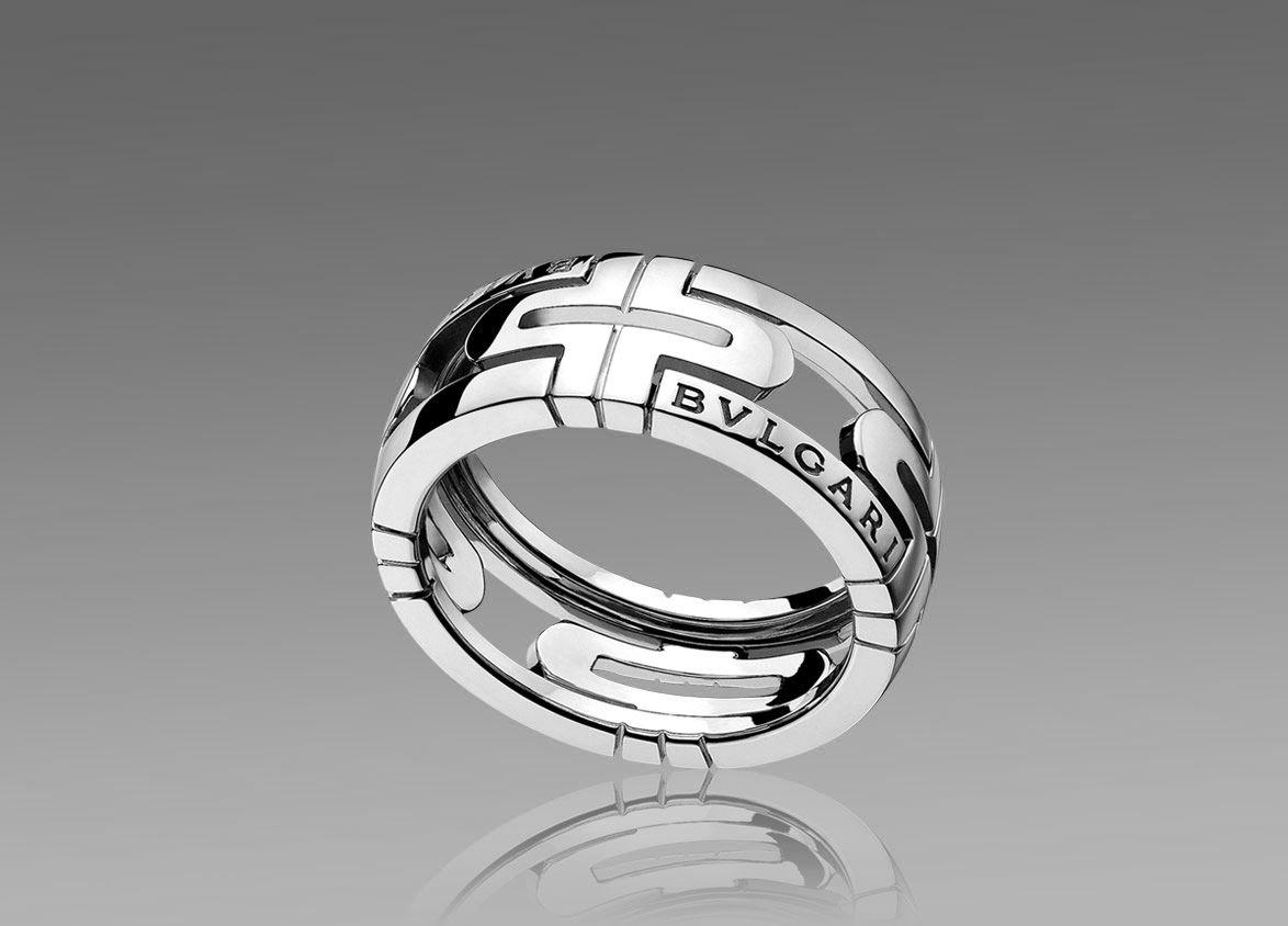 Bulgari Parentesi Ring In 18kt White Gold Rings For Men