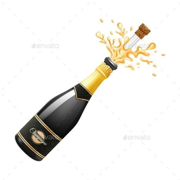 Champagne Explosion Illustration Bottle Drawing Champagne Champagne Bottle
