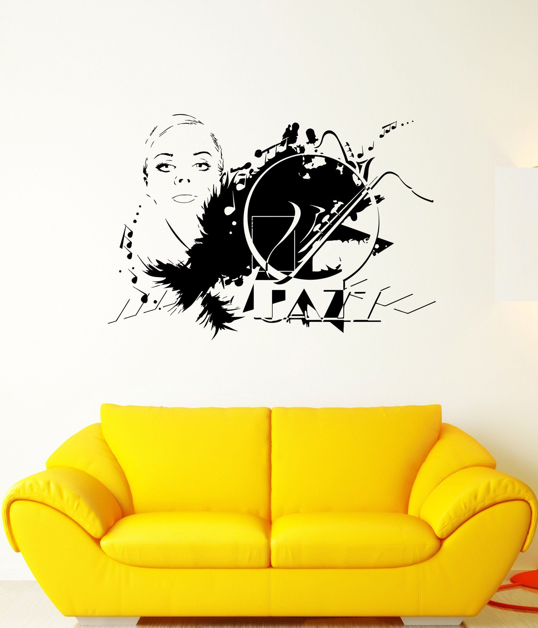 Vinyl Decal Beautiful Woman Sexy Girl Music Jazz Art Decor Wall ...