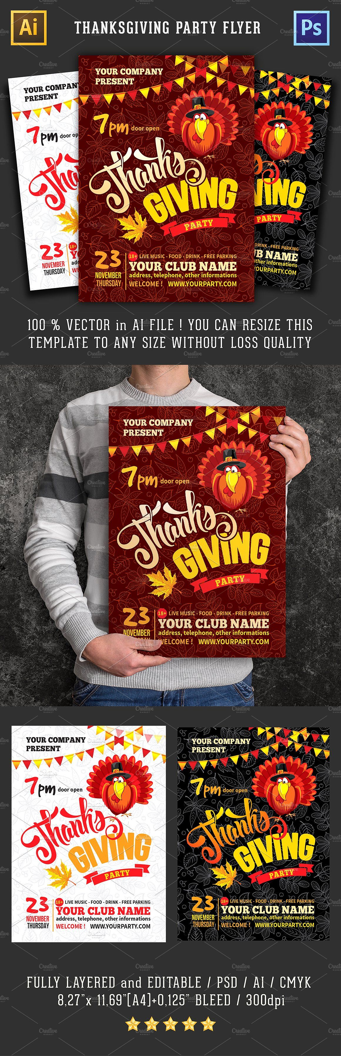 Thanksgiving party flyer template Party flyer, Flyer