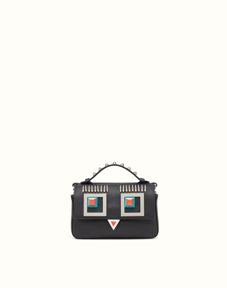 f831ca1d6f57 FENDI DOUBLE MICRO BAGUETTE - microbag in black and wheat-yellow leather