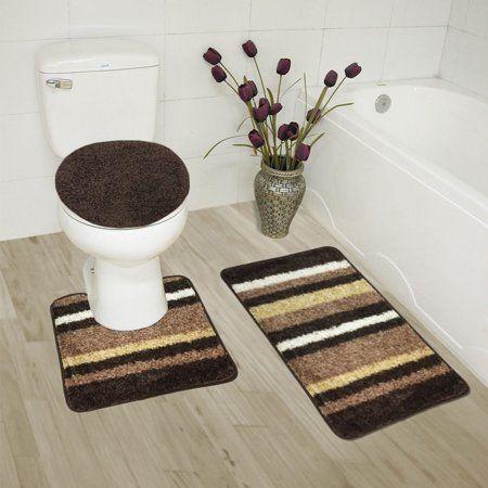 abby 3 piece bathroom rug set bath rug contour rug lid on farmhouse colors for bath mats walmart id=78816