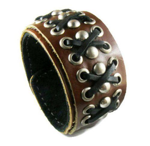 Wide Brown  Cuff Bracelet Wrap Bangle Leather Wristband Punk Snap Bracelet