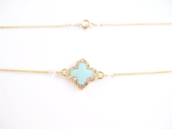fbd2ef37e Tiffany Blue Van Cleef style necklace, Clover, Quatrefoil Alhambra Necklace