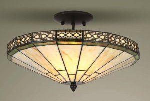 Mission Tiffany Semi Flush Ceiling Light Co Uk Lighting