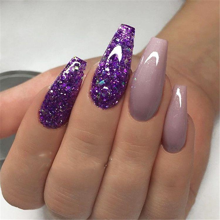 30 Elegant Purple Glitter Coffin Nails Inspirations Tips Purple Glitter Nails Purple Acrylic Nails Mauve Nails