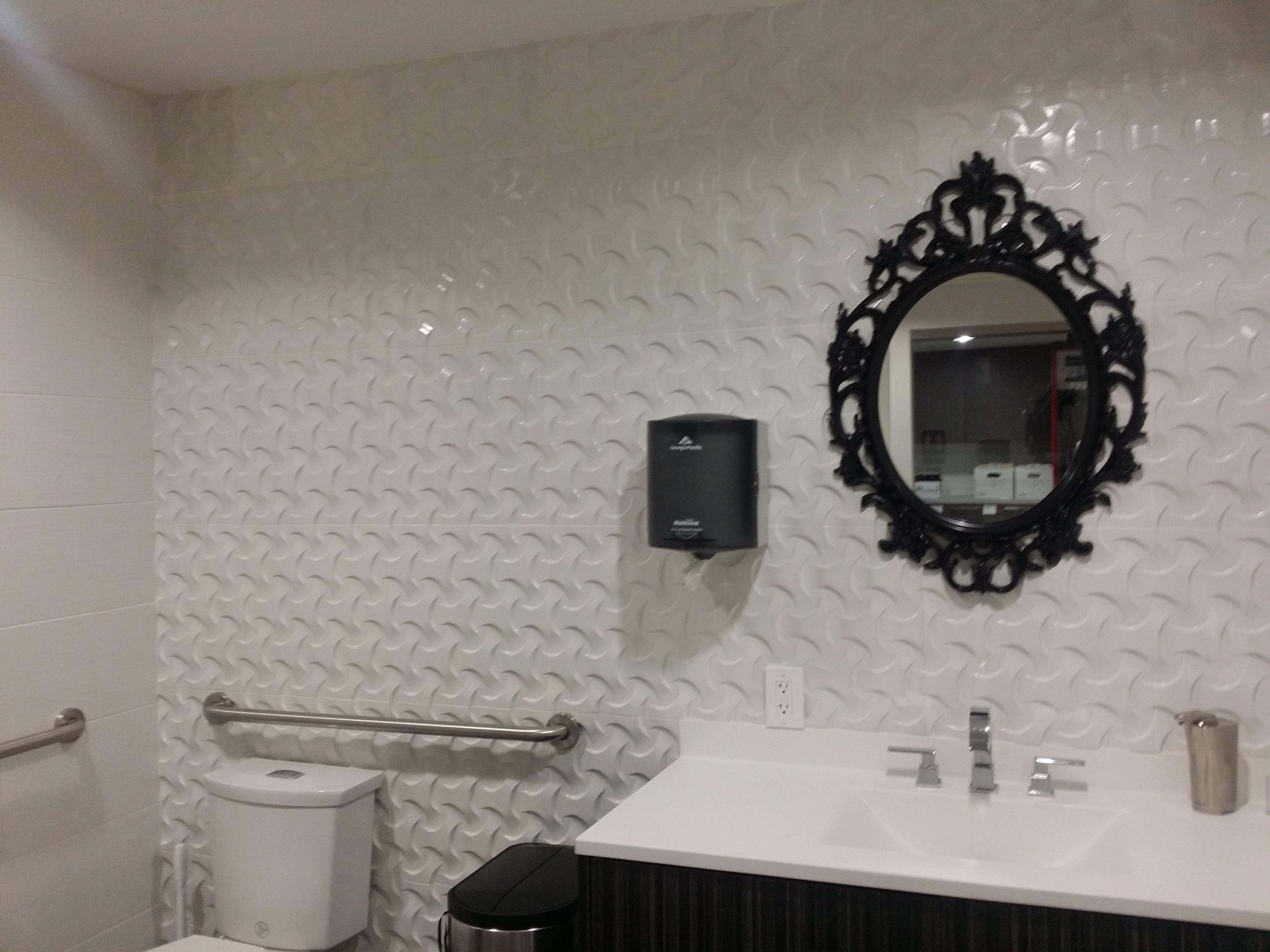 Painted gypsum tiles add texture to this restroom ideas for my