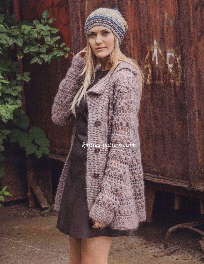 Crocheted jacket with lapel - free pattern | Crochet Ideas ...