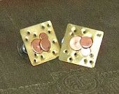 brass and copper post earrings