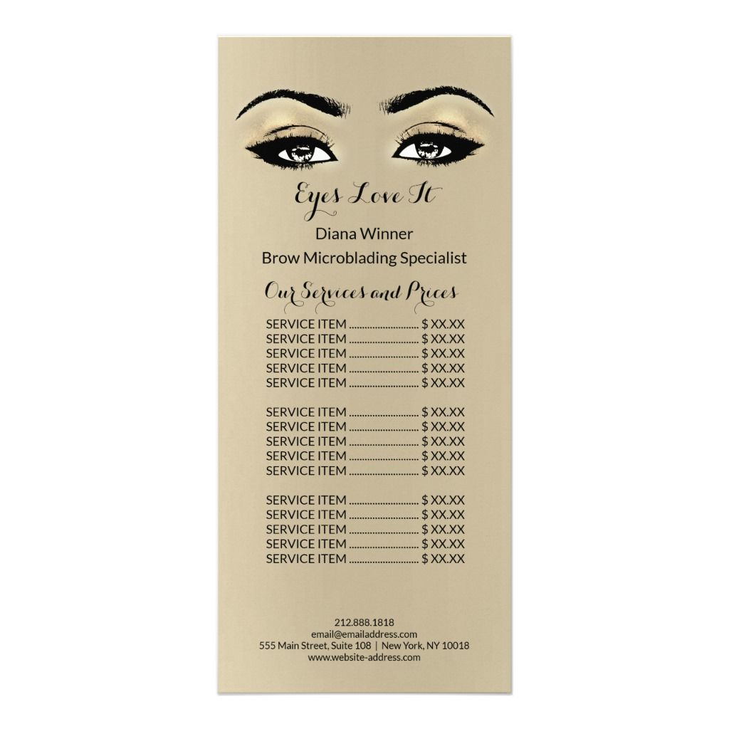 Makeup Beauty Salon Name Microblanding Lashes Rack Card  Zazzle