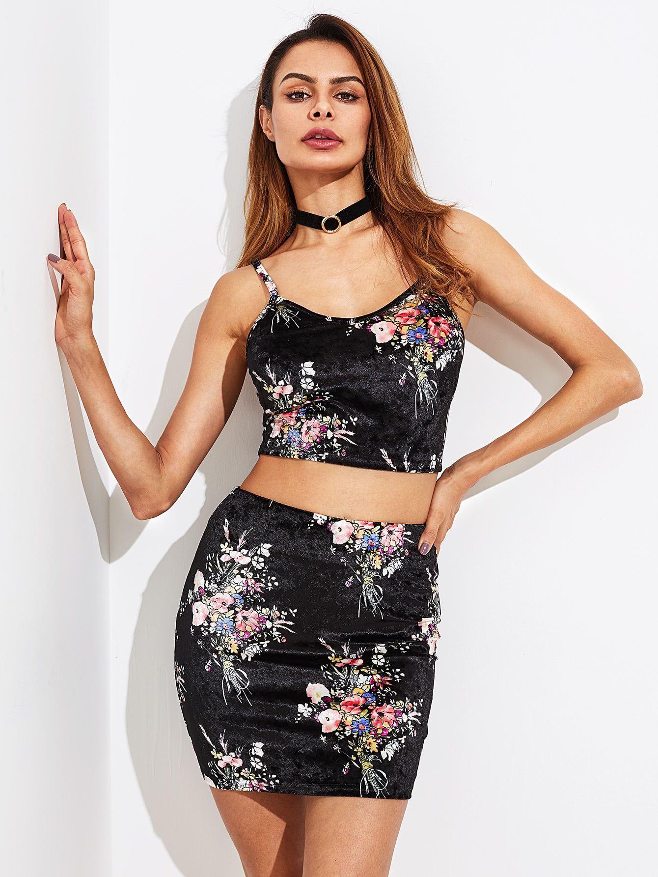df9a41cae6 Shop Zip Back Floral Velvet Crop Cami And Skirt Set online. SheIn offers  Zip Back
