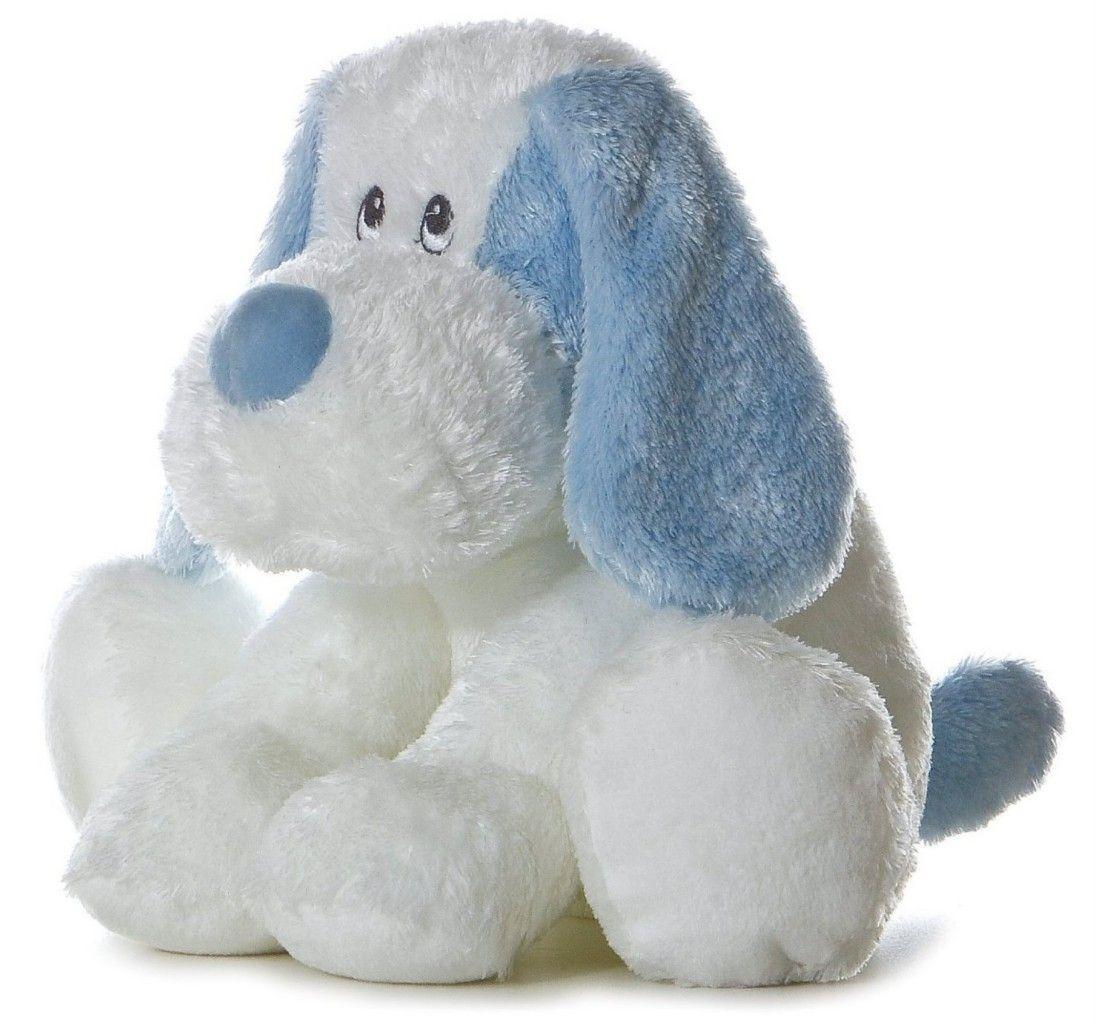 9 aurora baby plush blue white puppy dog scruff stuffed animal toy new white puppies. Black Bedroom Furniture Sets. Home Design Ideas