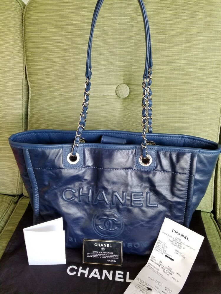 0c753c70a359 CHANEL DEAUVILLE CARBON RUE Glazed Calfskin Leather Blue Tote Bag RARE  w/receipt
