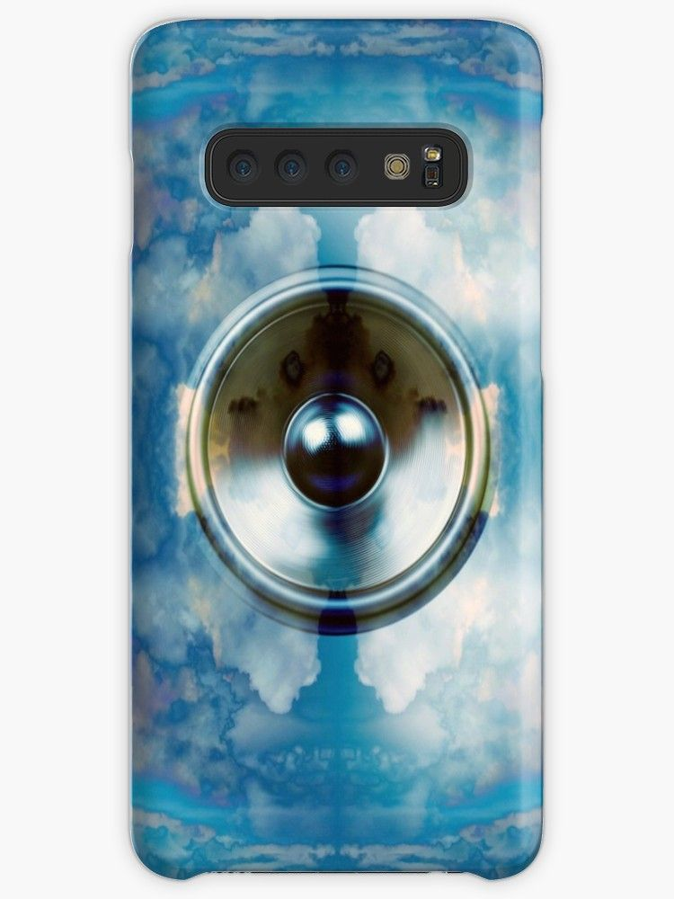 Spinning Audio Speaker And Cloudy Blue Sky Background Millions Of Unique Designs By Independent Artists Find Y Music Speakers Blue Sky Background Cool Cases