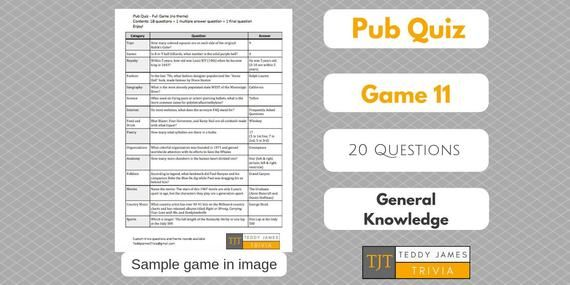 Trivia Questions for Pub Quiz Game 11 20 General | Etsy in ...