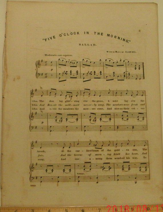 Five Oclock In The Morning Ballad Sheet Music By Claribel Mlle Parepas Favorite Songs C1850s Good Shape Vintage