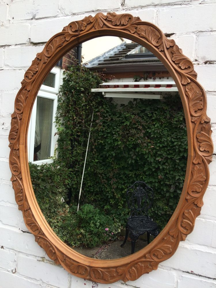 Large Vintage Oval Bevelled Wall Mirror Wooden Frame