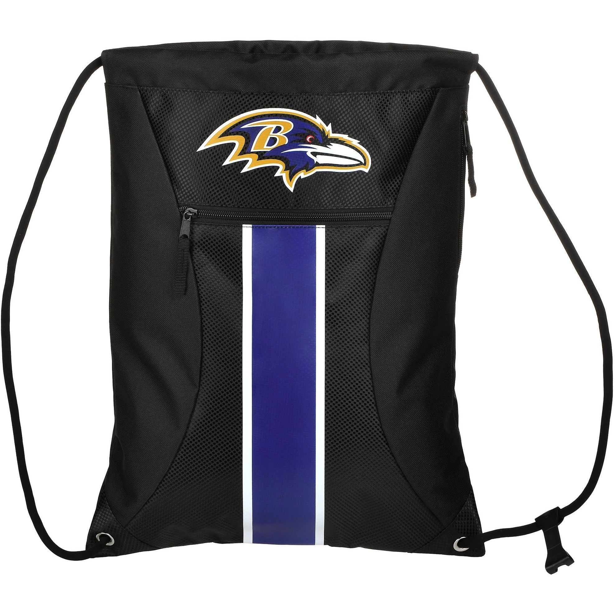 Baltimore Ravens NFL Big Stripe Zipper Drawstring Backpack