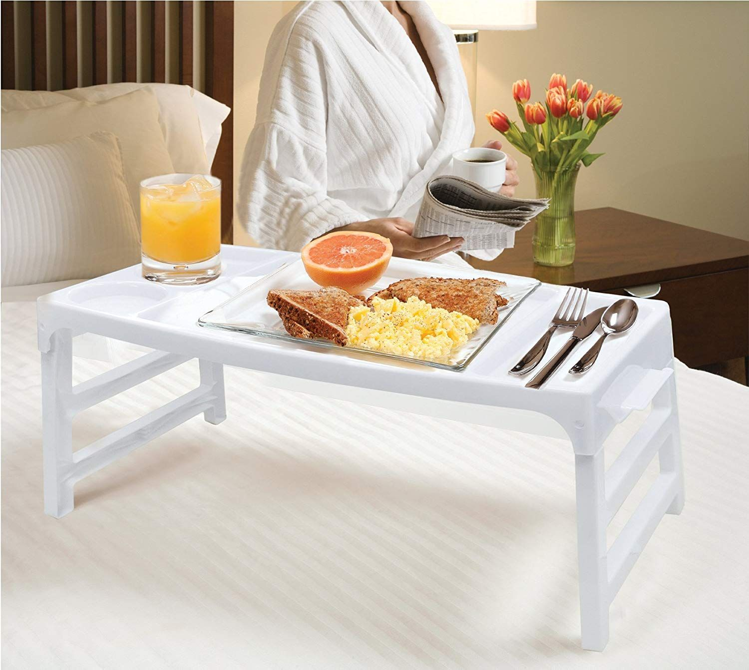 Folding serving TV tray table Great for use in bed, in