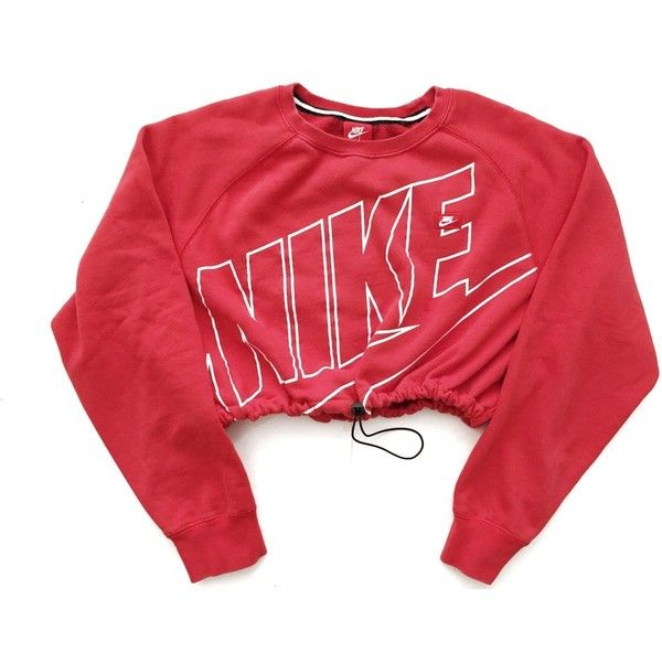 d3734dcbf4 Reworked Nike Crop Sweatshirt Red ( 48) ❤ liked on Polyvore featuring tops