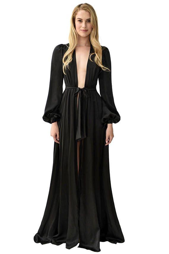 simone 100 silk robe black silk satin floorlength robes