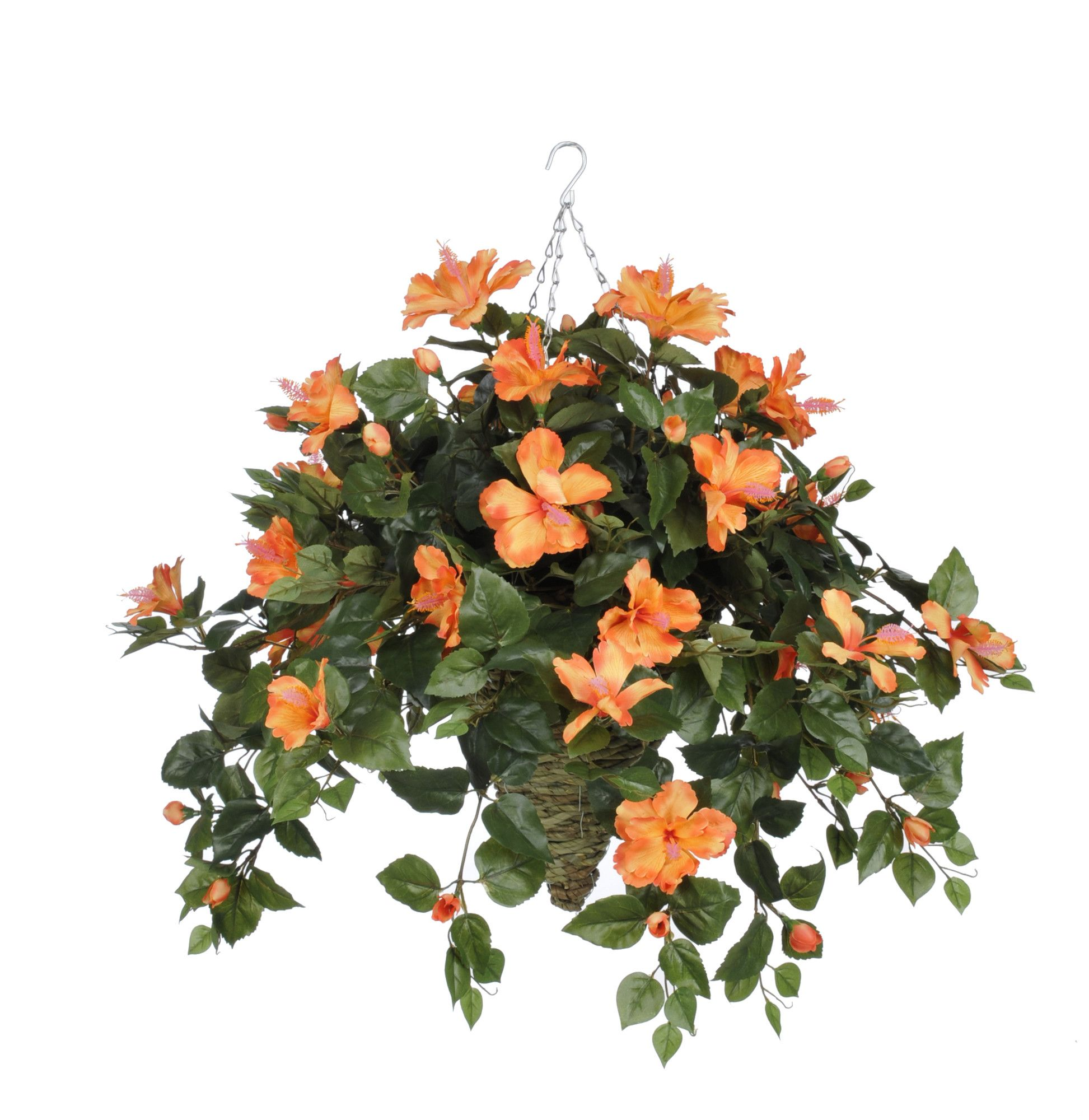 Artificial Hibiscus Hanging Plant In Beehive Basket Products