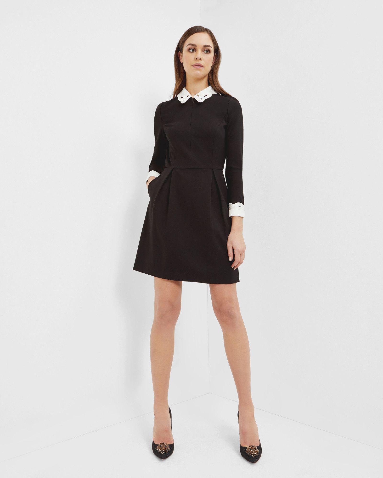 e6bdda38cb19c8 Embroidered collared dress - Black