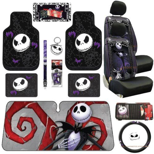 16pc Nightmare Before Christmas Jack Skellington Seat Cover Rubber Floor Mat Set