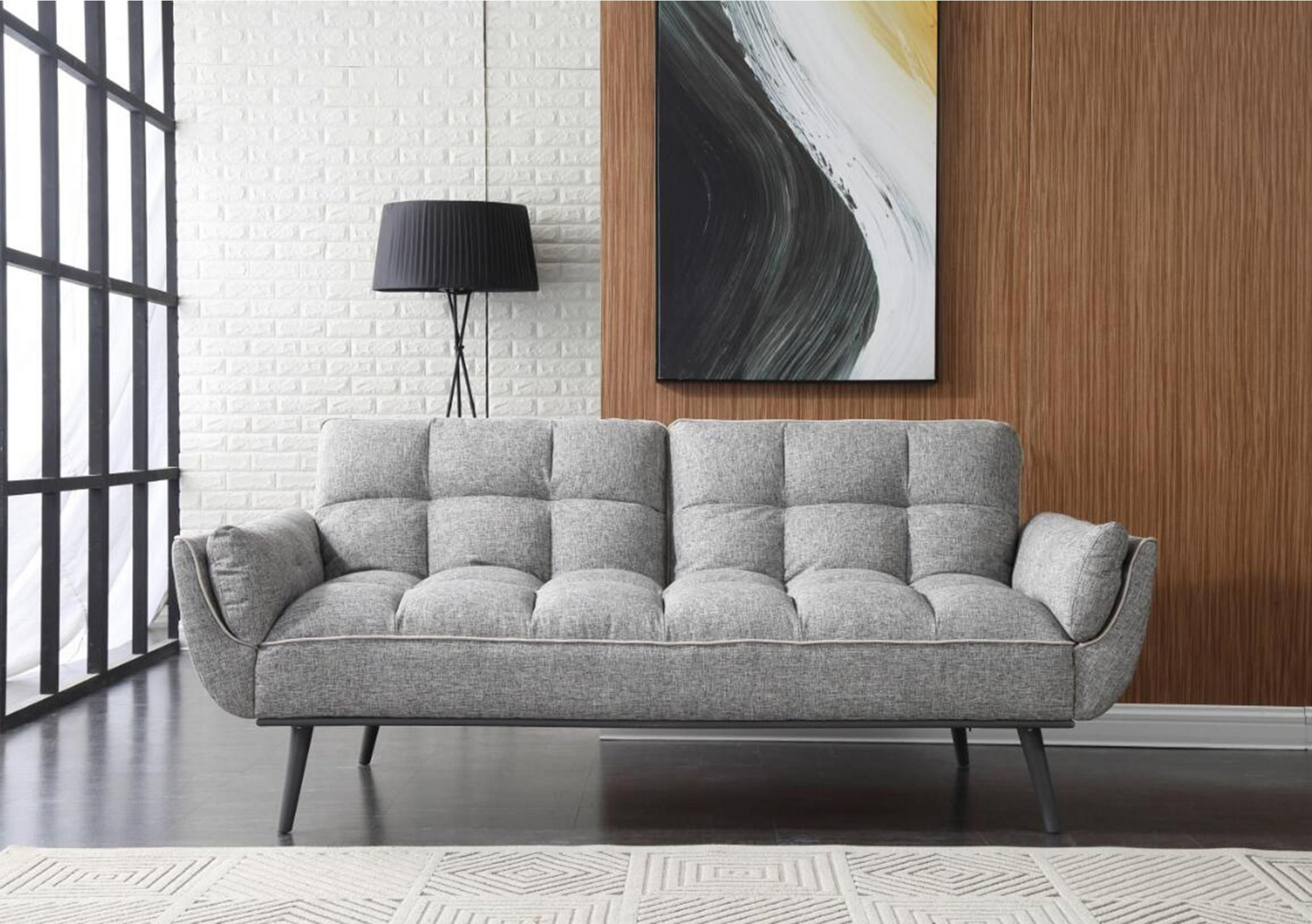Fabulously Stylish Modern Sofa Bed With Cushioned, Panelled, Buttoned Back  And Tapered Metal Legs