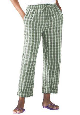 Plus Size Tall Seersucker Pants Capri Blue Plaid 36 T Bco 9 99