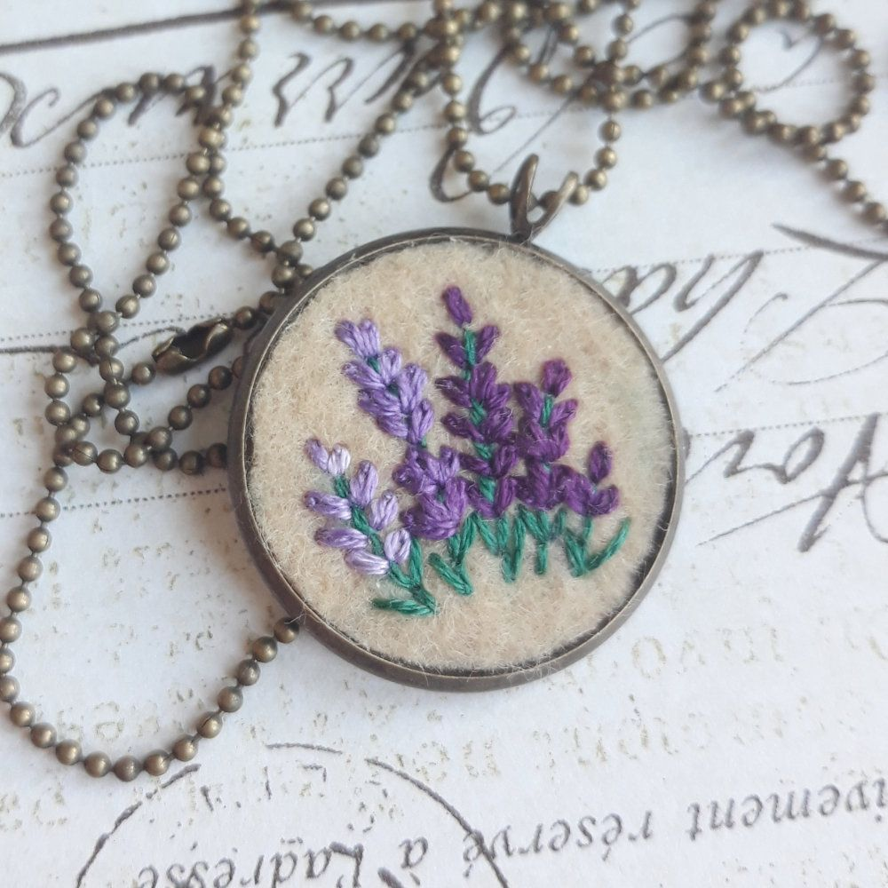 Purple Lavender Necklace Hand Embroidered Lavender Pendant Etsy In 2020 Hand Embroidered Jewelry Lavender Necklace Lavender Pendant