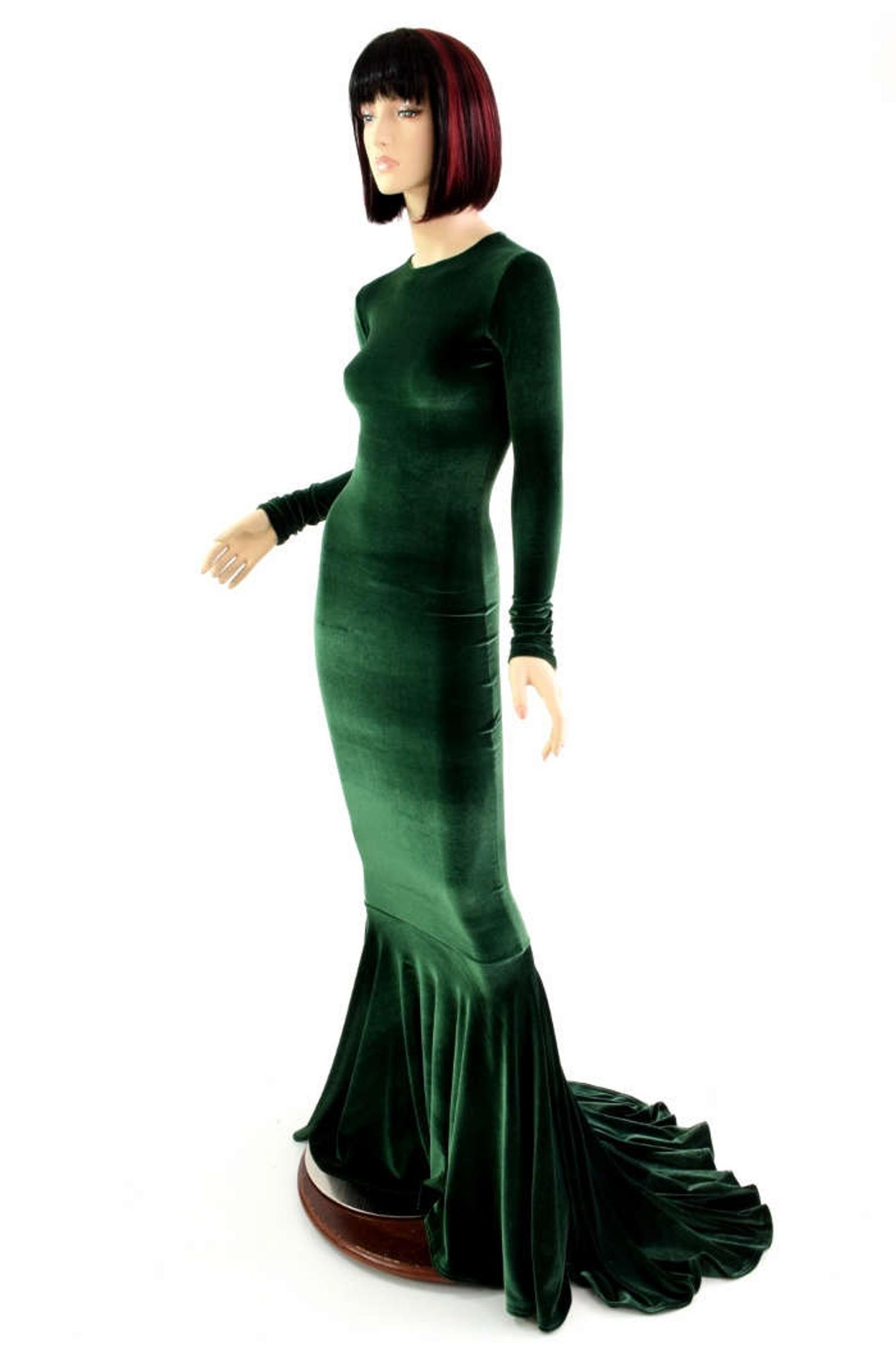 Bewitching Long Forest Green Velvet Gown With Crew Neckline Etsy Long Sleeve Gown Velvet Gown Green Velvet Dress [ 2382 x 1588 Pixel ]