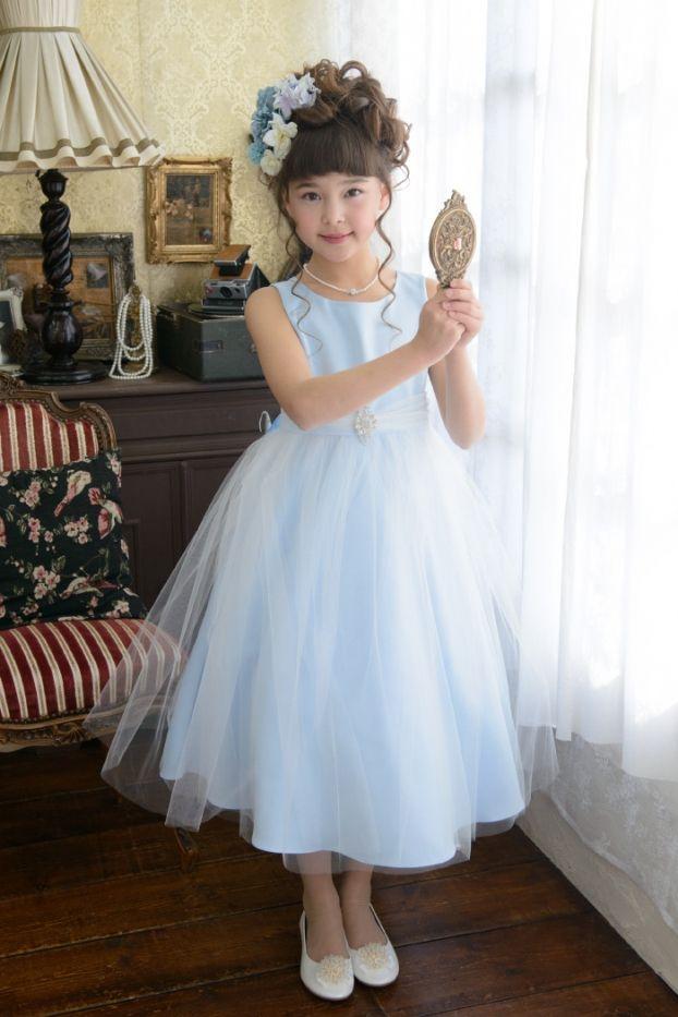 子供ドレス ピアノ発表会ドレス 12 208 150cm ベビーブルー 青い鳥 子供ドレス フラワーガールドレス 子供のドレス