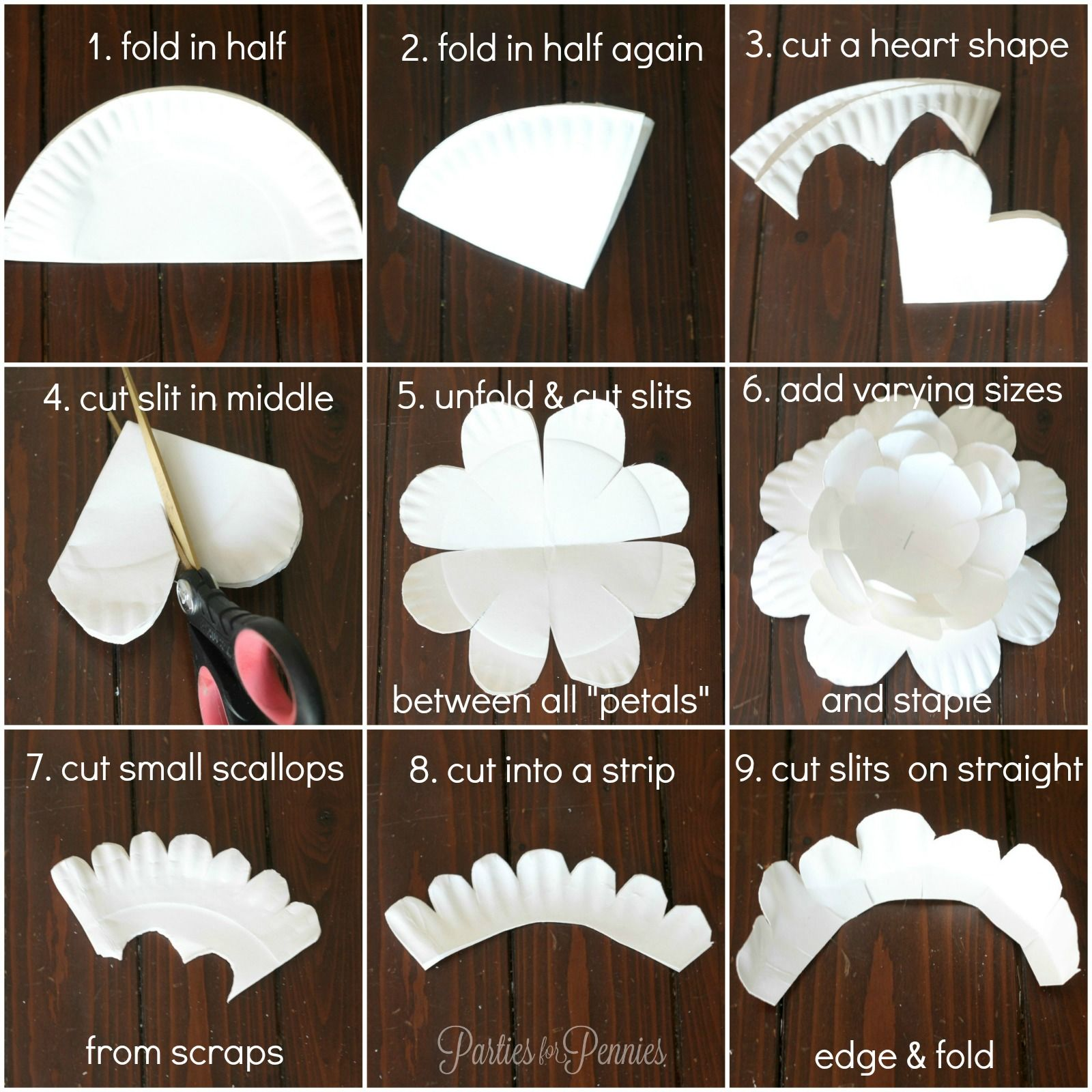How To Make A Paper Plate Flower By Partiesforpennies