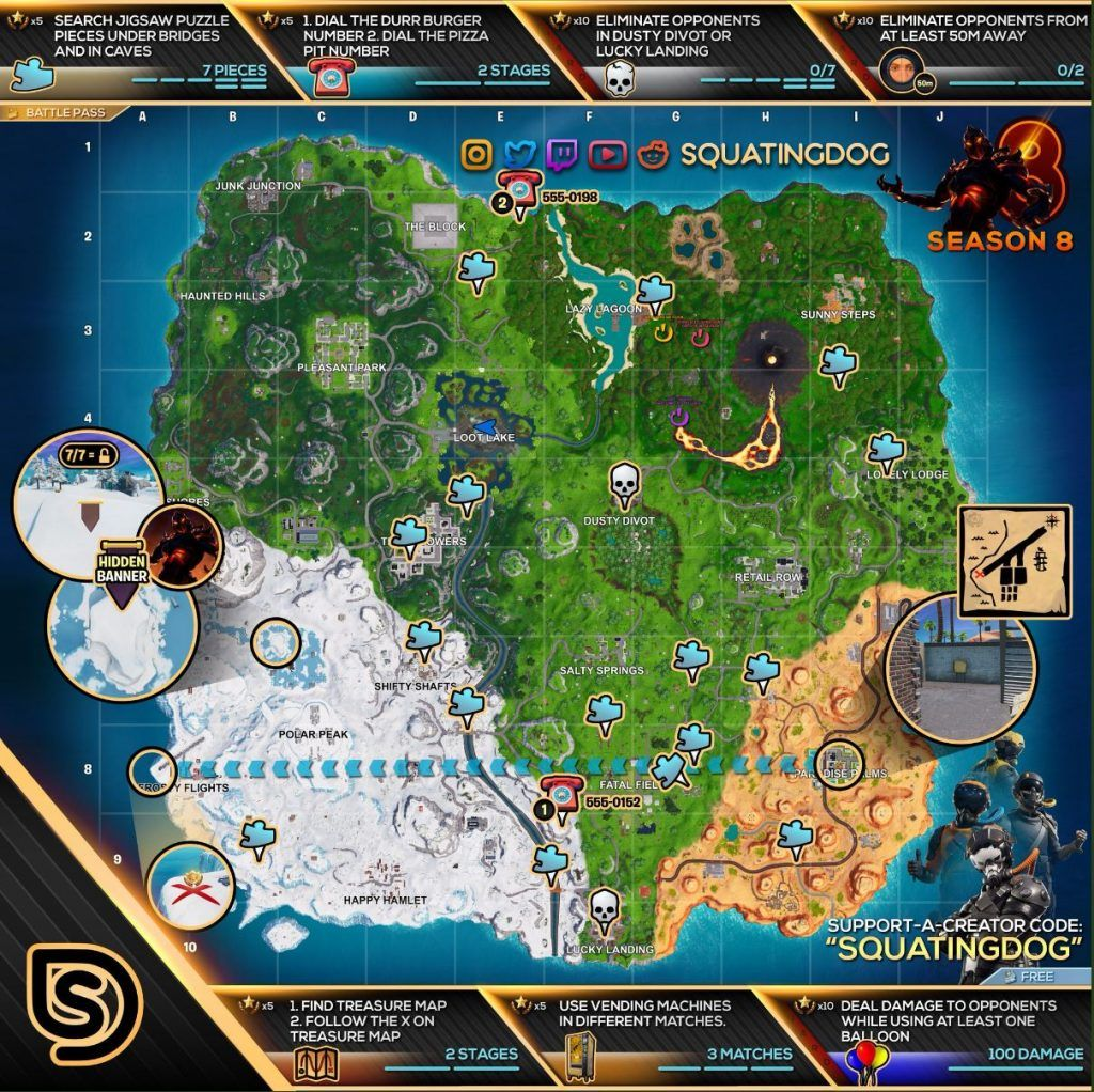 Complete Season 8 Week 8 Cheat Sheet With All Challenge