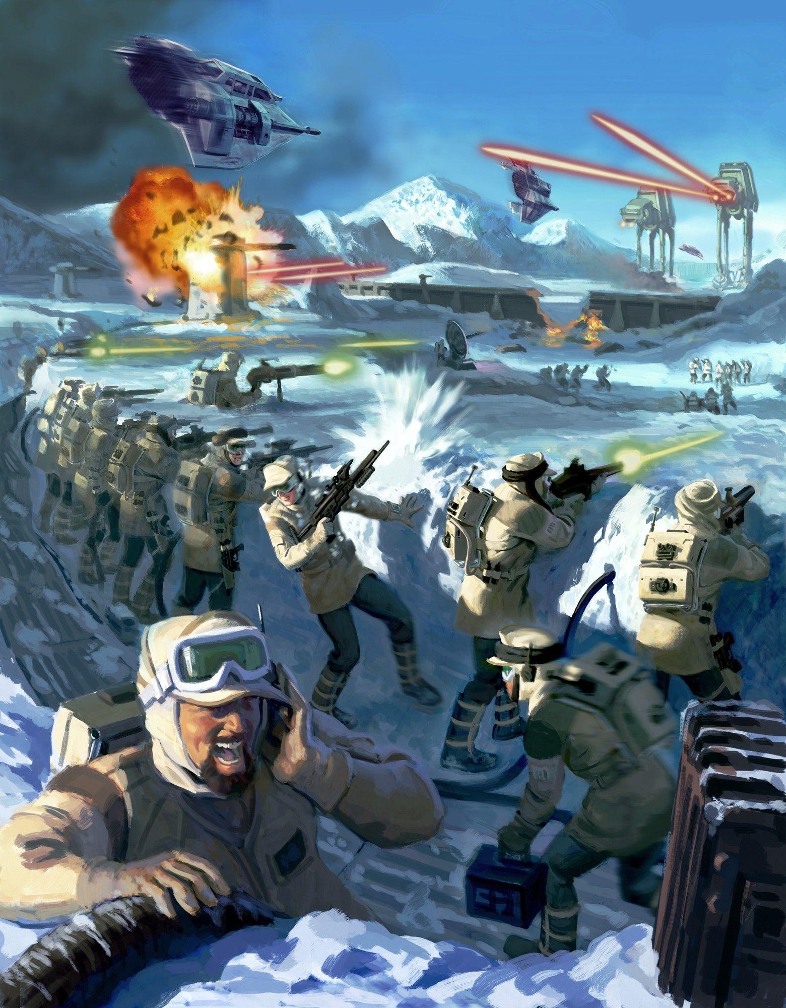 Hoth Battle Star Wars Artwork Star Wars Pictures Star Wars Wallpaper